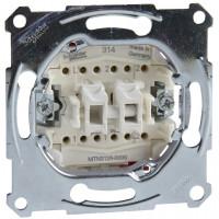 Переключатель двухклавишный проходной, механизм, D-Life Merten MTN3126-0000