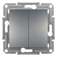 Выключатель проходной двухклавишный, Сталь Asfora, EPH0600162