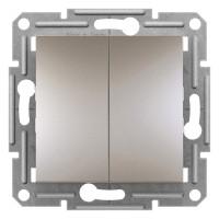Выключатель проходной двухклавишный, Бронза Asfora, EPH0600169