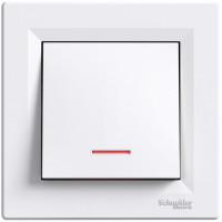 Выключатель одноклавишный с подсветкой, Белый, Asfora EPH1400121
