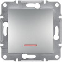 Выключатель одноклавишный с подсветкой, Алюминий Asfora, EPH1400161
