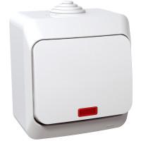 Выключатель одноклавишный с подсветкой, Белый, Cedar Plus WDE000514
