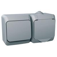 Розетка с заземляющим контактом + выключатель одноклавишный, Серая, Cedar Plus WDE000600