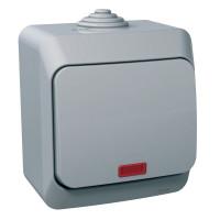 Выключатель одноклавишный с подсветкой, Серый, Cedar Plus WDE000614