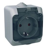 Розетка с заземляющим контактом и шторками, Серая, Cedar Plus WDE000643