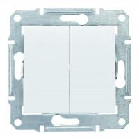 Двухклавишный выключатель10А-250В, Белый, Sedna SDN0300121