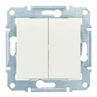 Двухклавишный выключатель10А-250В, Слоновая кость, Sedna SDN0300123