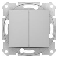 Двухклавишный выключатель10А-250В, Алюминий, Sedna SDN0300160