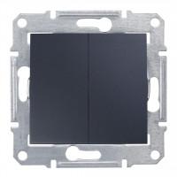 Двухклавишный выключатель10А-250В Графит, Sedna SDN0300170