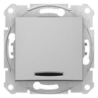 Одноклавишный выключатель с синейподсветкой 10А-250В, Алюминий, Sedna SDN1400160