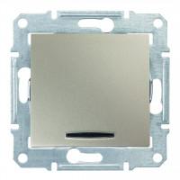Одноклавишный выключатель с синейподсветкой 10А-250В Титан, Sedna SDN1400168