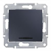 Одноклавишный выключатель с синейподсветкой 10А-250В Графит, Sedna SDN1400170